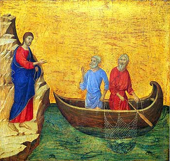 St Andrew the First Called - Painting of the calling of St Peter and St. Andrew by Duccio di Buoninsegna